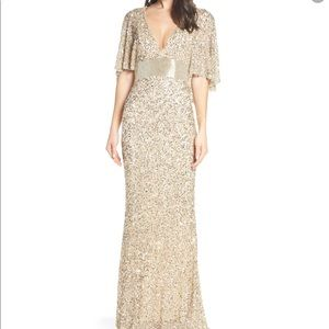 Mac Duggal Beaded Capelet Sleeve Evening Dress 8